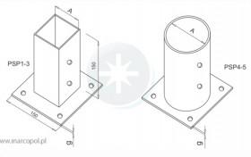 Podstawa słupa o podstawie prostokątnej/okrągłej